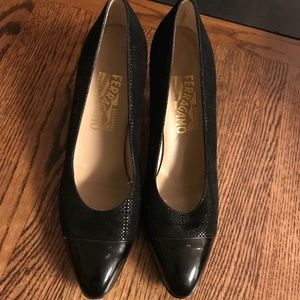 Ferragamo's black patent leather great condition